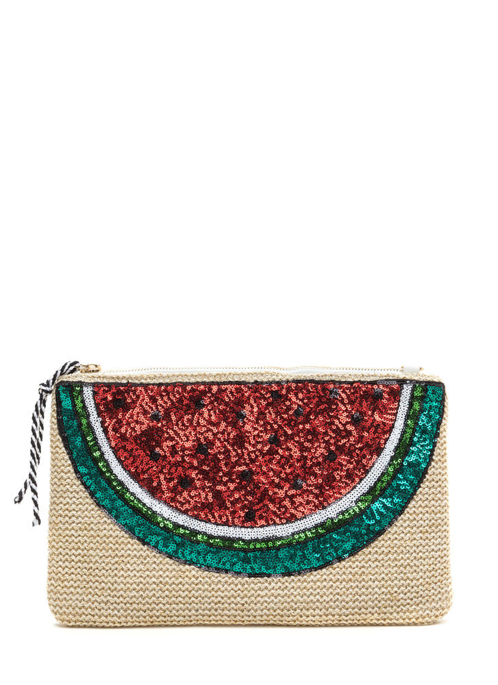 Fruit Ninja Sequined Woven Clutch NATURALRED