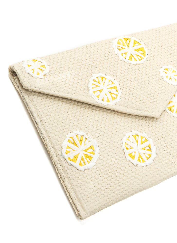 When Life Gives You Lemons Woven Clutch NATURALYLLW