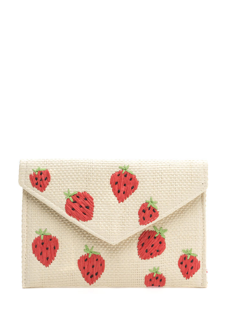 Strawberry Fields Forever Woven Clutch NATURALRED