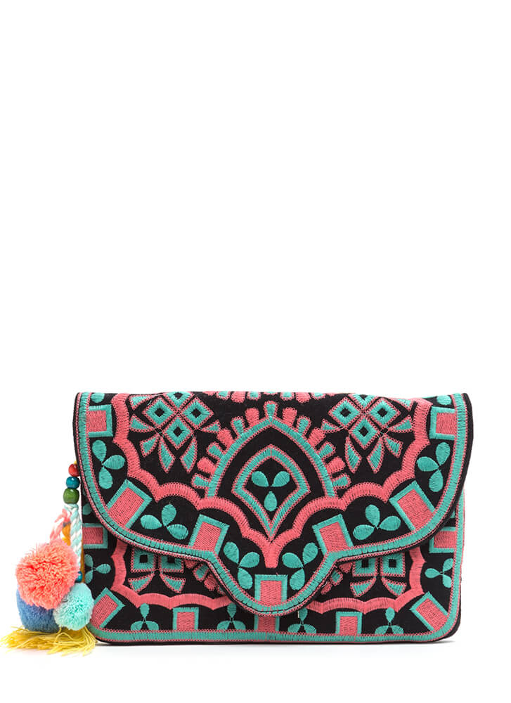 Versatile Choice Embroidered Boho Clutch BLACKMULTI (You Saved $26)