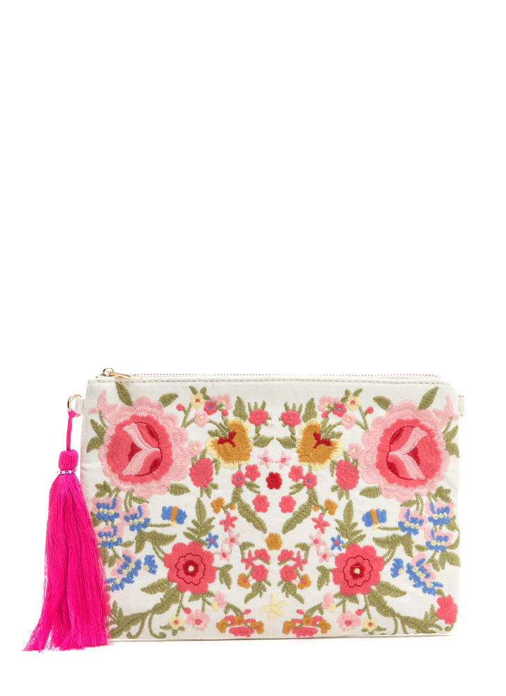 Floral Support Flat Embroidered Clutch IVORY