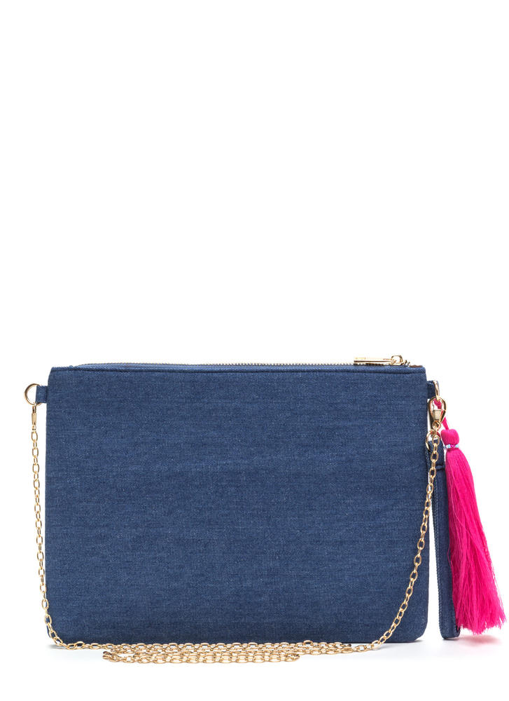 Folk Tale Embroidered Denim Clutch DKBLUE
