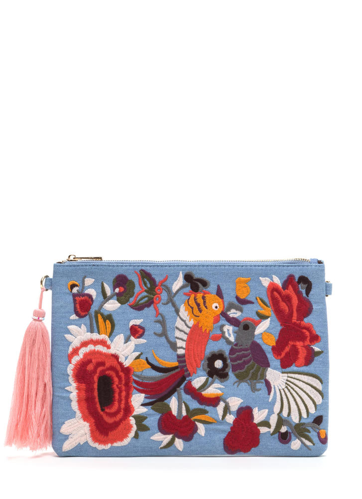 Folk Tale Embroidered Denim Clutch LTBLUE