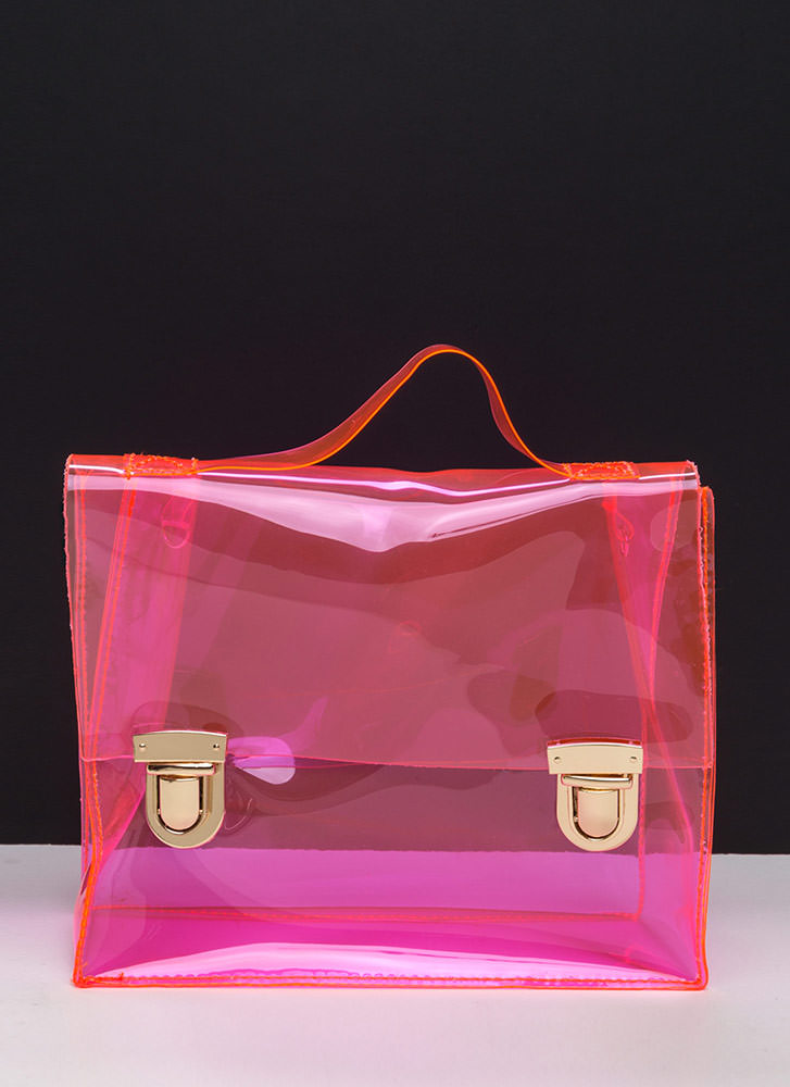 So Transparent Clear PVC Bag NEONPINK