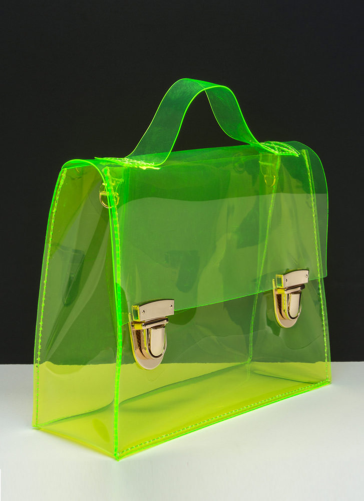 So Transparent Clear PVC Bag NEONYELLOW