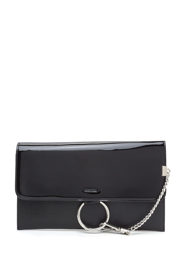 Ring It Up Chained Rectangle Clutch BLACK (Final Sale)