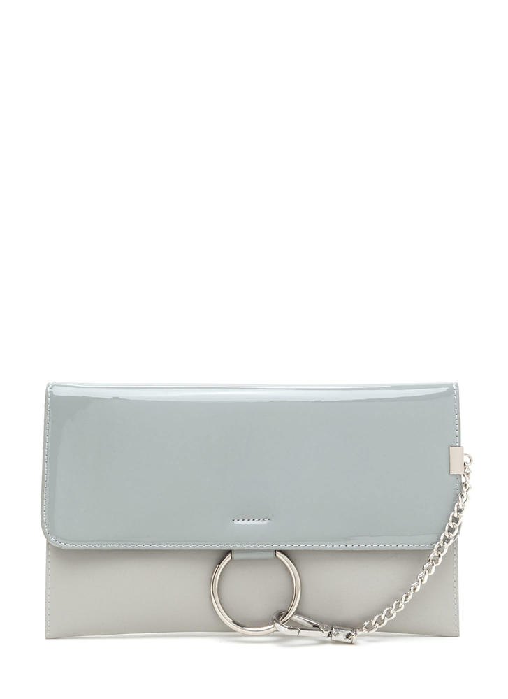 Ring It Up Chained Rectangle Clutch GREY (Final Sale)