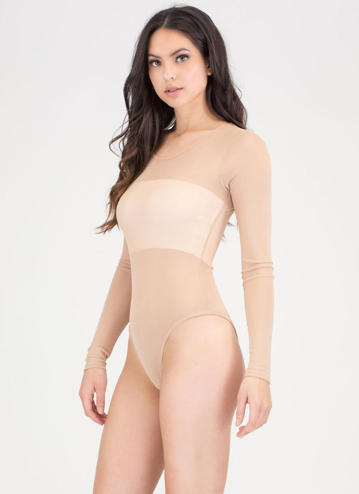 Sheer Thing Mesh Thong Bodysuit MOCHA