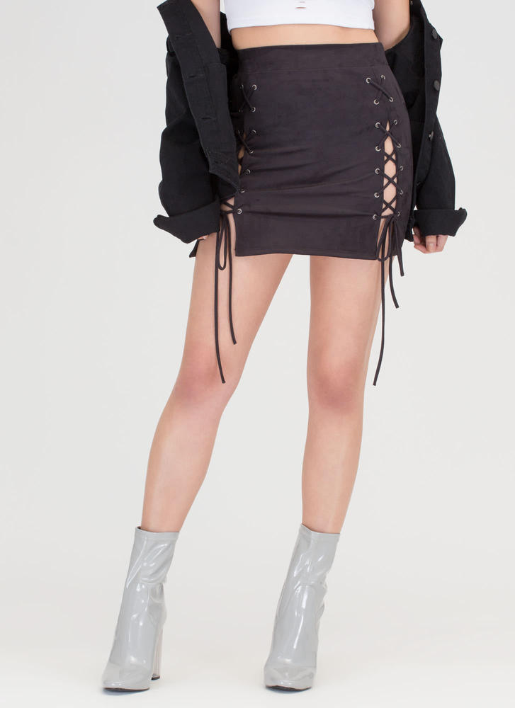 Turn Of The Tied Faux Suede Miniskirt BLACK
