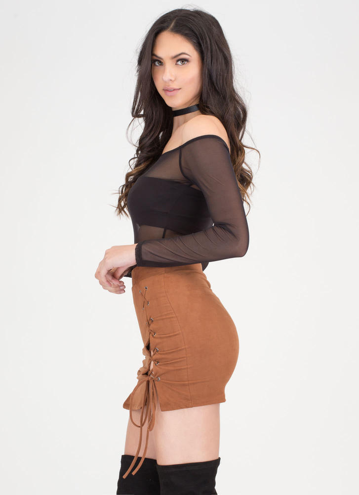 Turn Of The Tied Faux Suede Miniskirt CAMEL