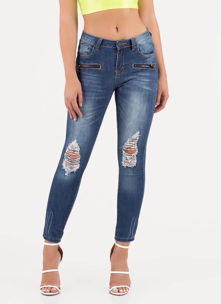 Zip 'Em Up Distressed Cropped Jeans BLUE