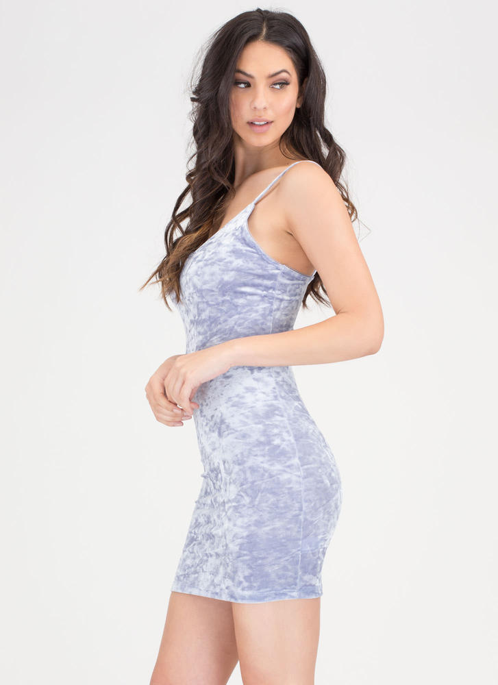 Royal Plush Crushed Velvet Dress BLUE