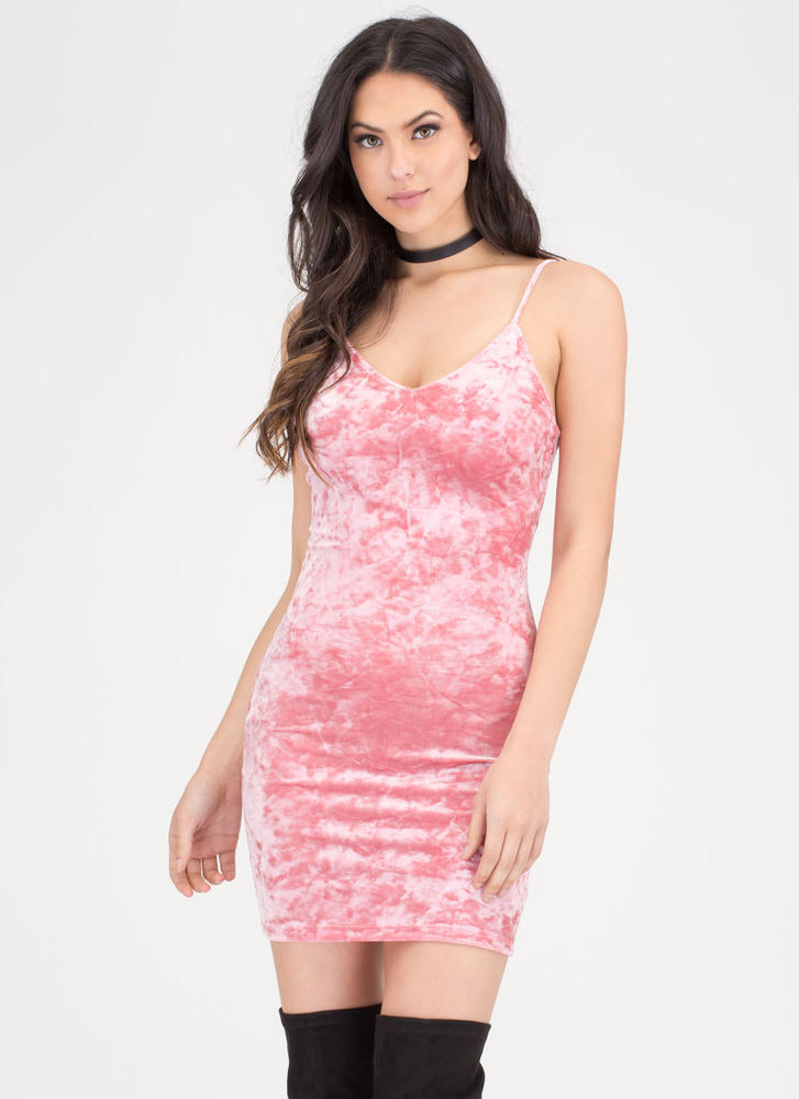 Royal Plush Crushed Velvet Dress CORAL