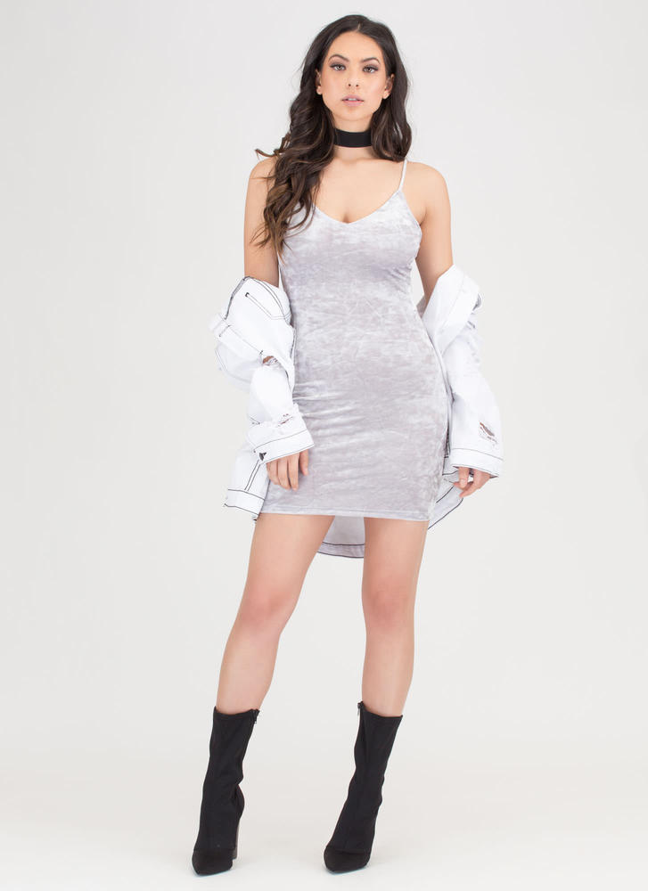 Royal Plush Crushed Velvet Dress SILVER