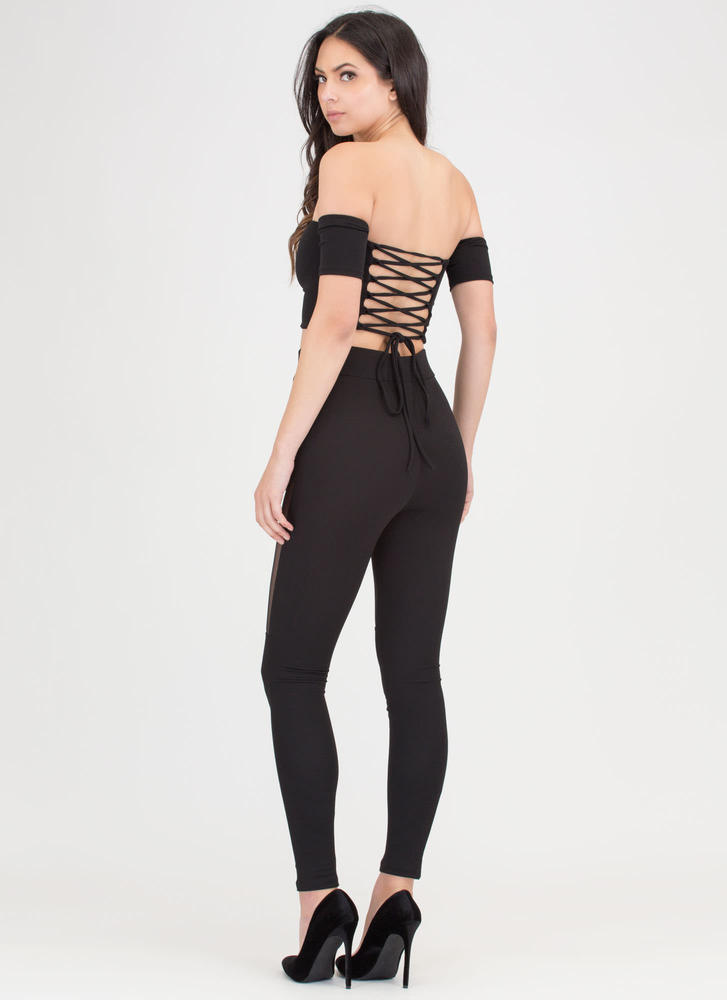 Tie You Down Mesh Two-Piece Jumpsuit BLACK