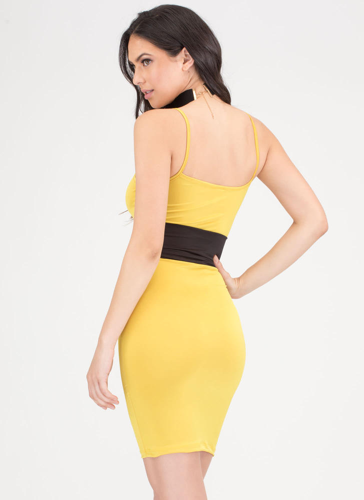 Yes Of Corset Colorblock Lace-Up Dress YELLOW