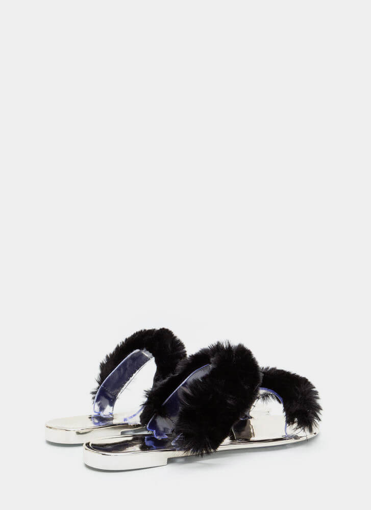 Double Up Furry Strap Jelly Sandals BLACK