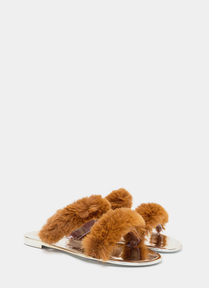 Double Up Furry Strap Jelly Sandals TAN