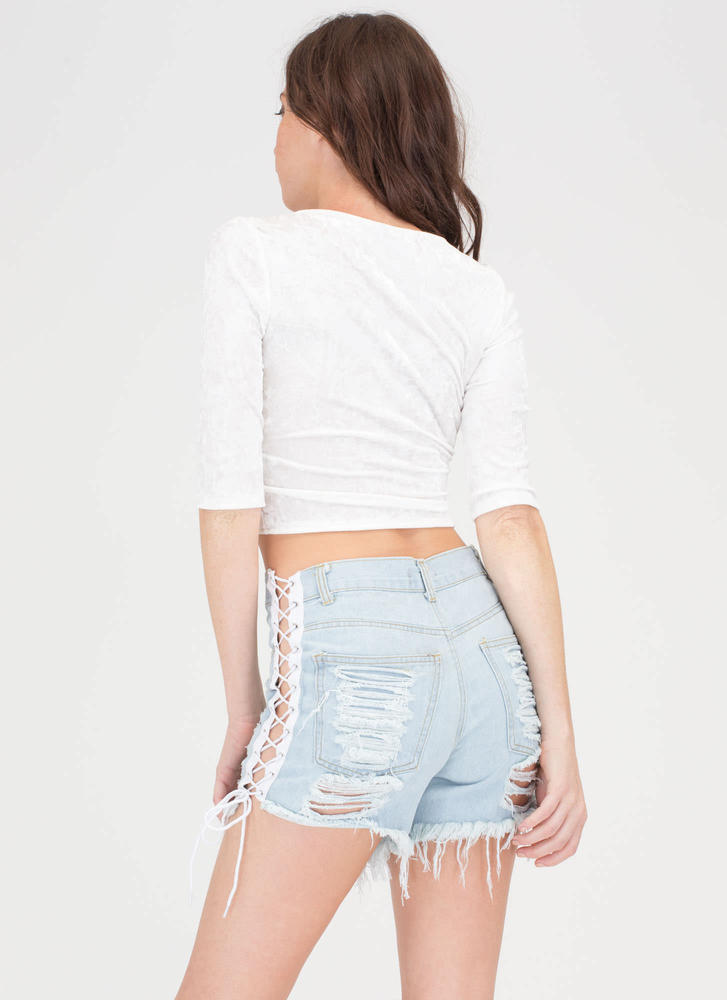 Let's Lace Up Destroyed Jean Shorts LTBLUE (Final Sale)