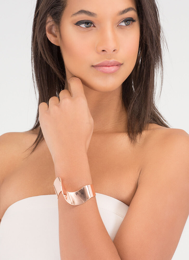Another Dimension Shiny Abstract Cuff ROSEGOLD (You Saved $6)
