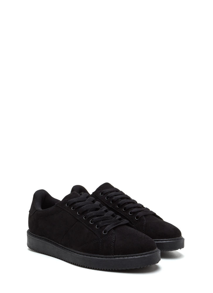 Street Style Elite Faux Leather Sneakers BLACK (Final Sale)