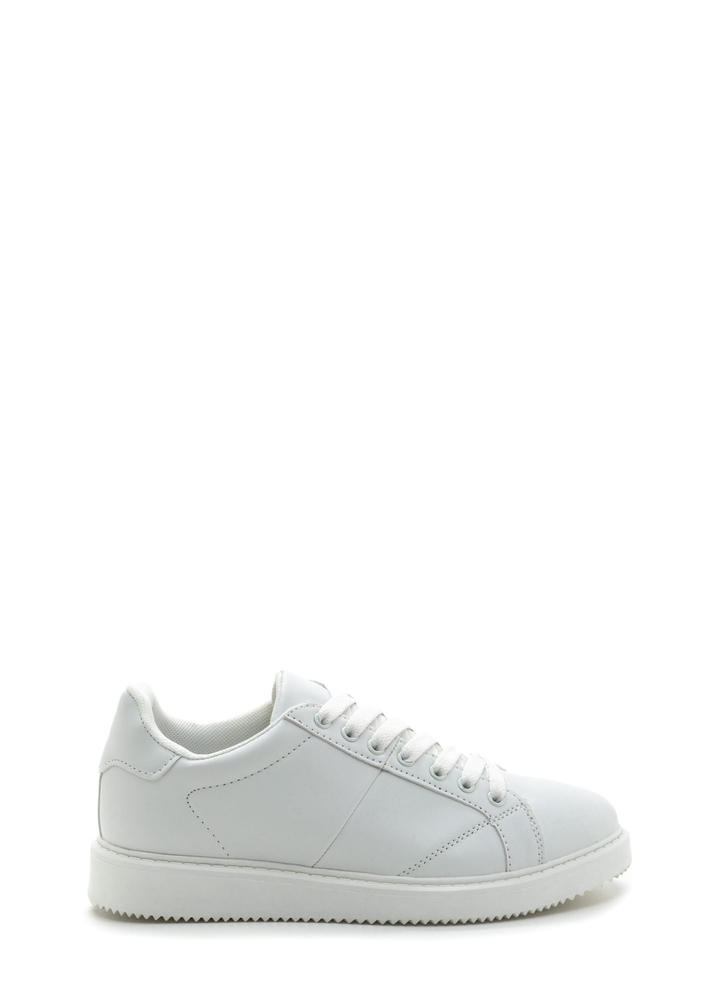 Street Style Elite Lace-Up Sneakers WHITE