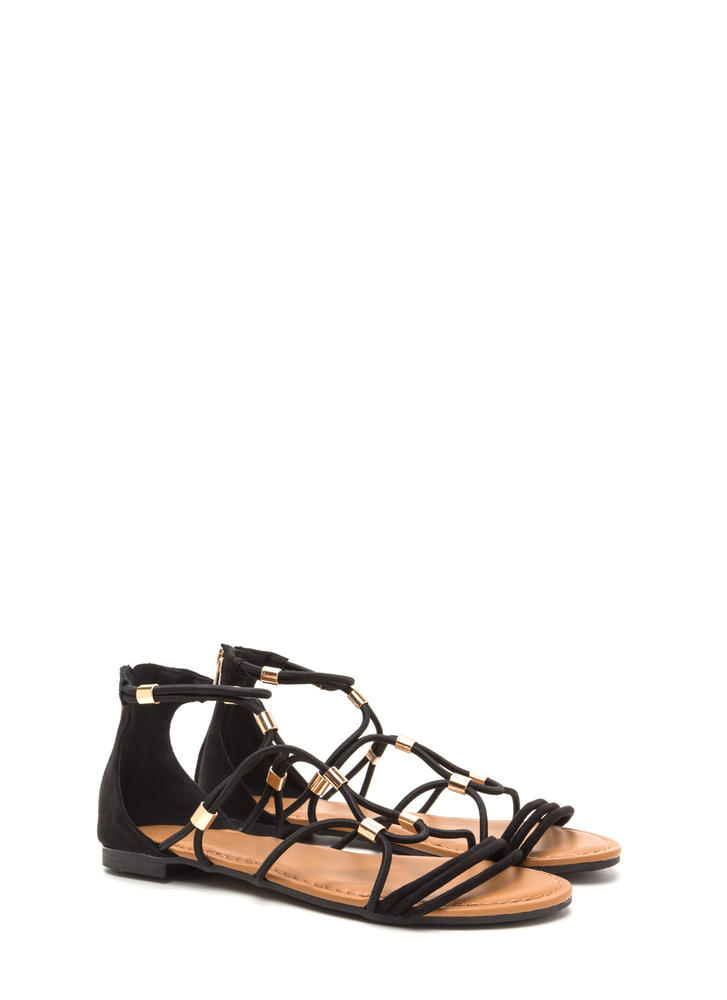 Totally Cord Caged Faux Suede Sandals BLACK
