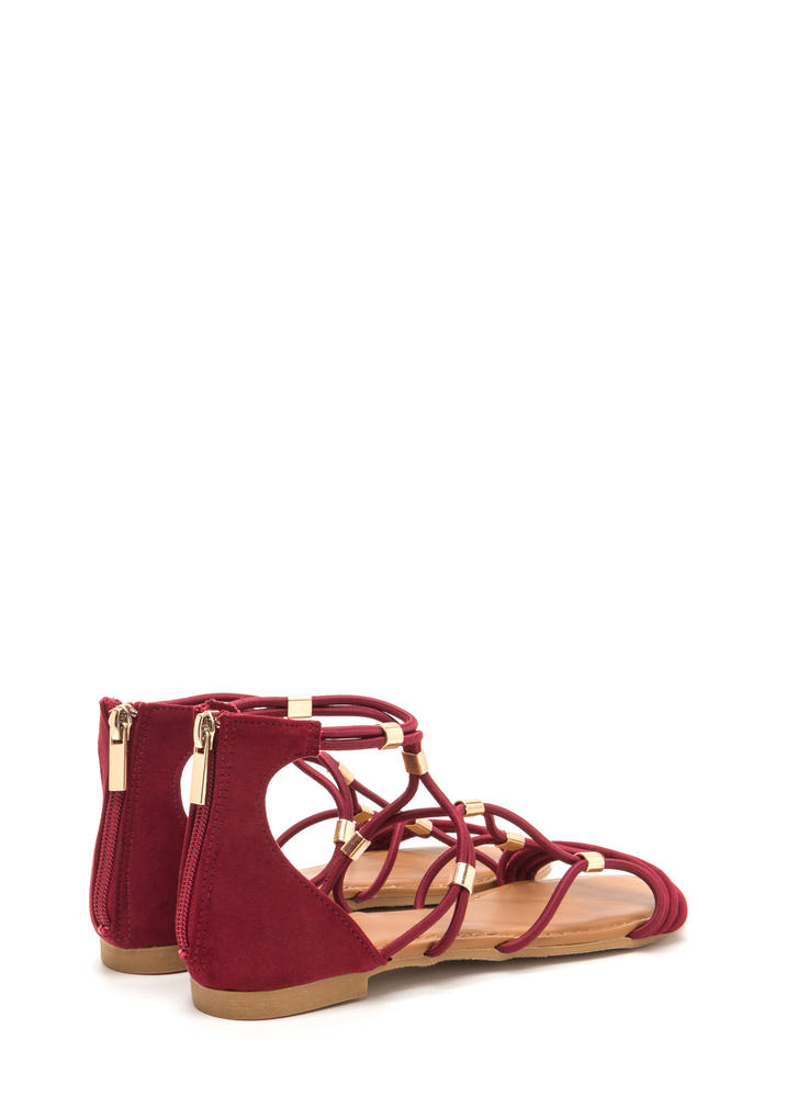 Totally Cord Caged Faux Suede Sandals MERLOT