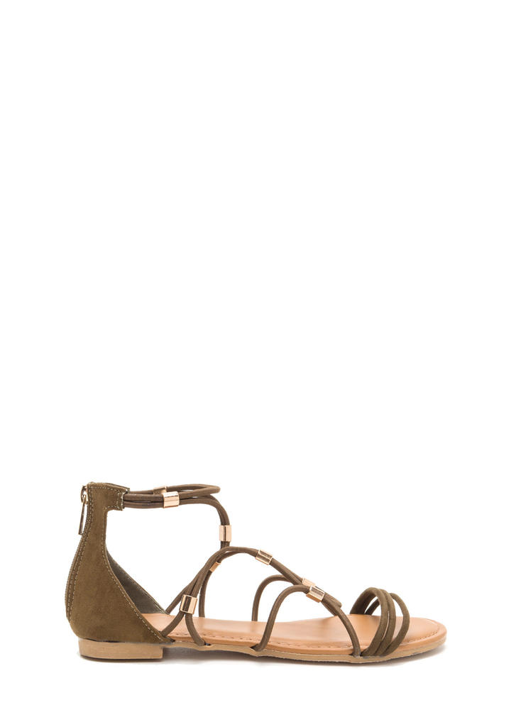 Totally Cord Caged Faux Suede Sandals OLIVE