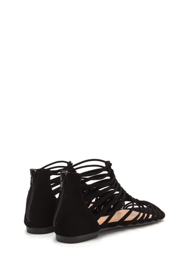 Ladder To The Top Faux Nubuck Sandals BLACK