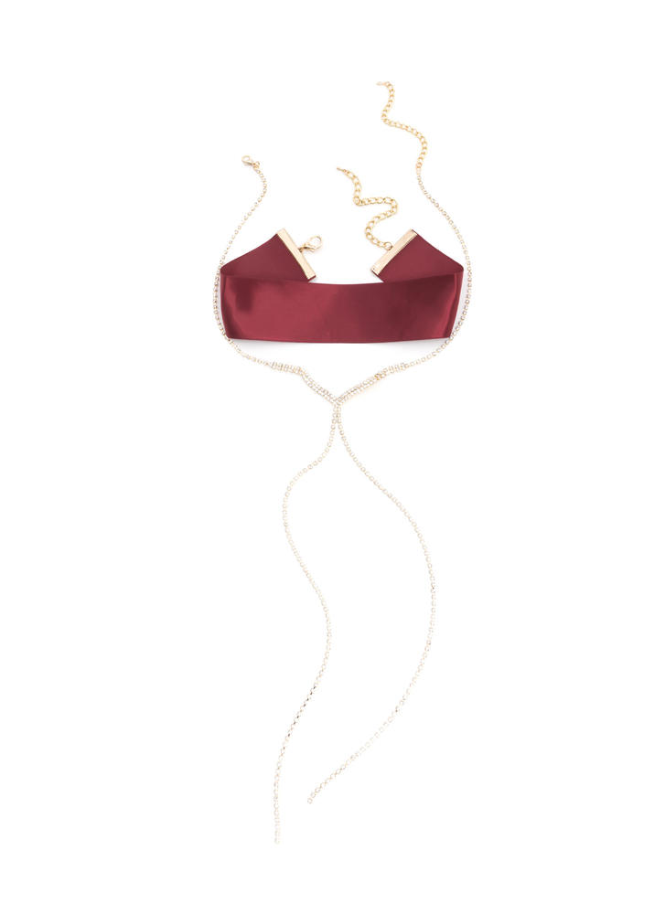 Luxe Nice Satin Faux Jewel Necklace Set WINEGOLD