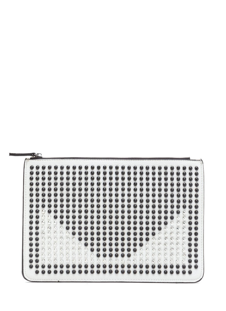 Punk Lifestyle Studded Contrast Clutch WHITE