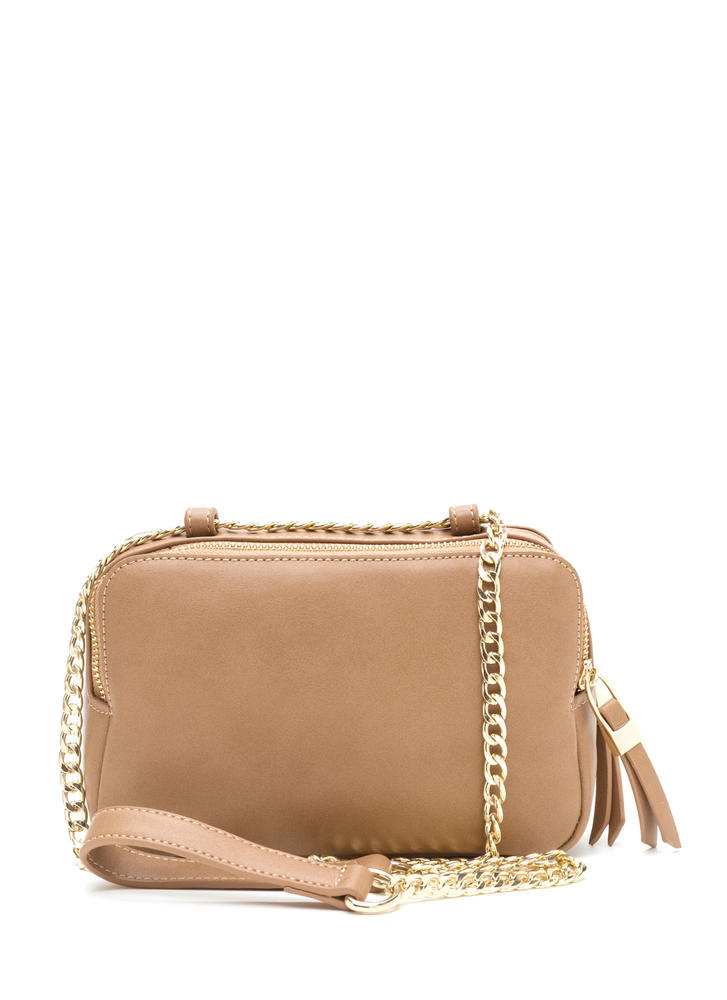 Total Package Faux Leather Crossbody Bag CAMEL