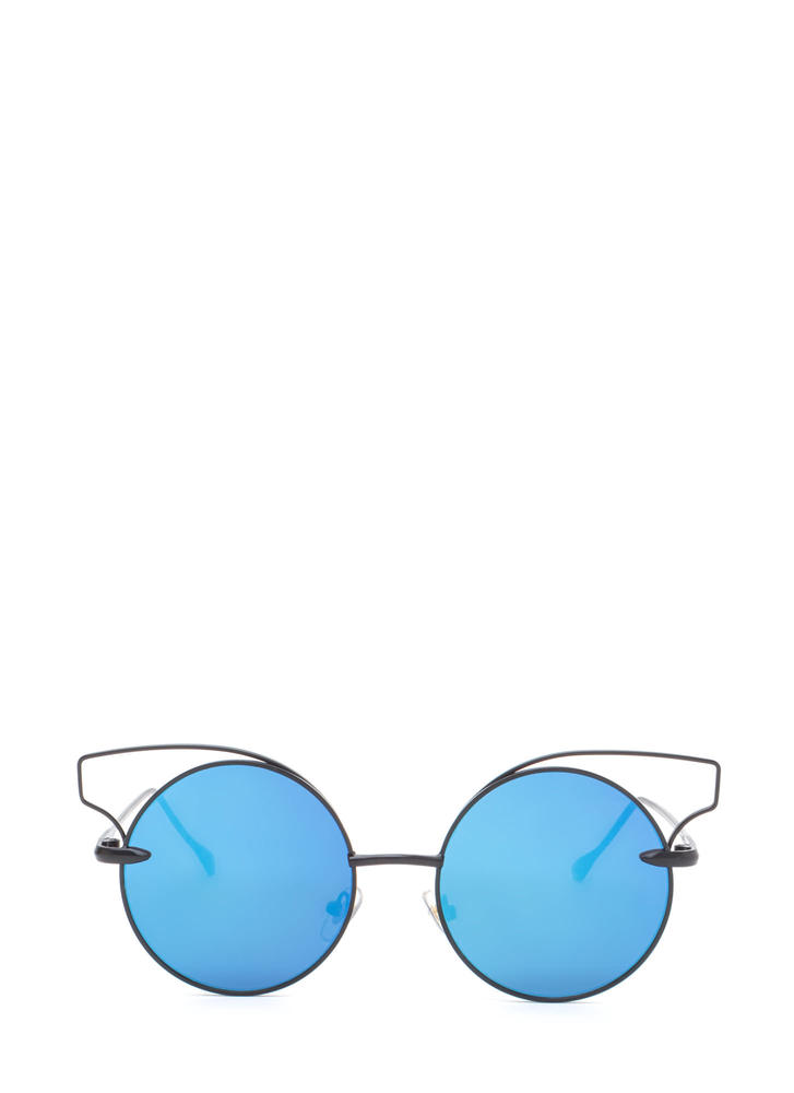Round Of Silence Cut-Out Sunglasses BLUEBLACK