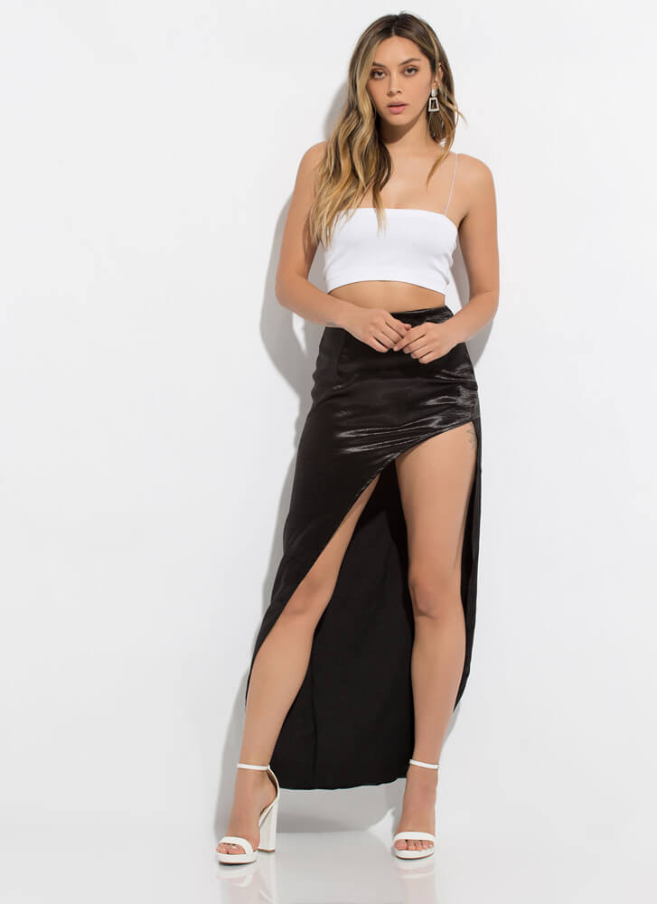 Smooth As Satin Cut-Out Slit Maxi Skirt BLACK
