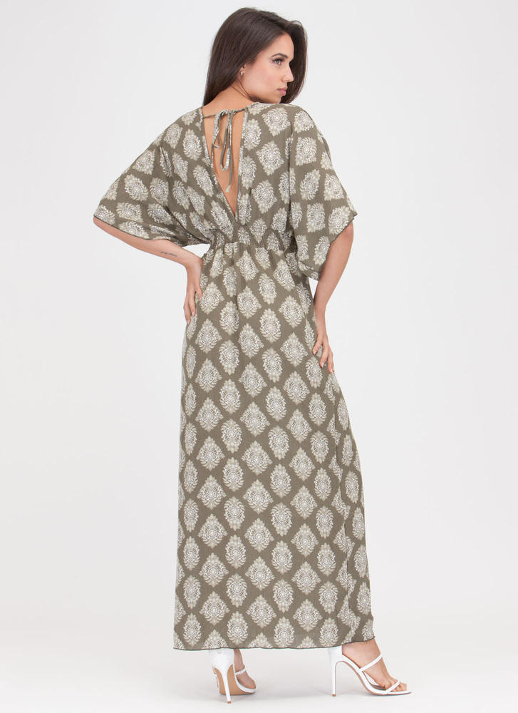 Chic Weekend Plunging Printed Maxi Dress OLIVE