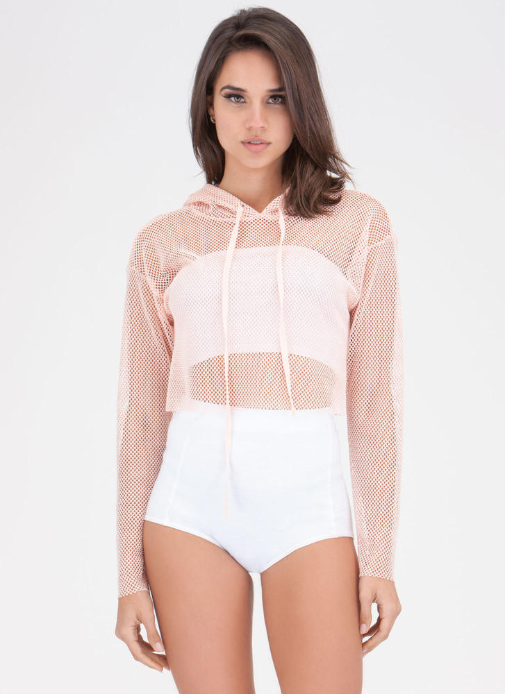 Net So Bad Hoodie Crop Top BLUSH