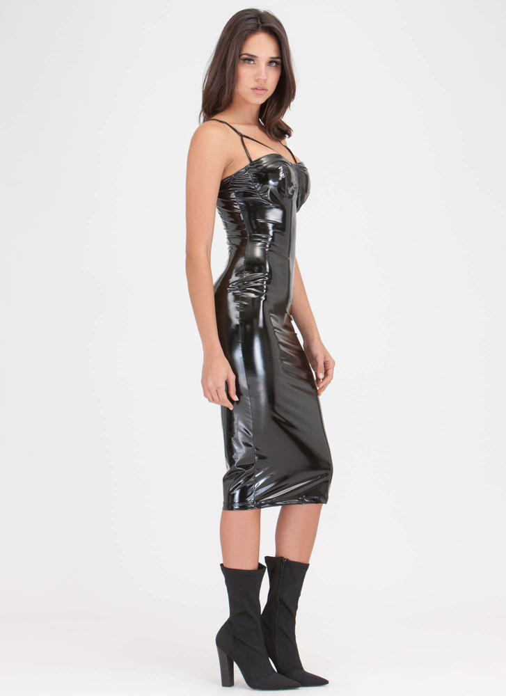 Painted On Strappy Faux Patent Dress BLACK