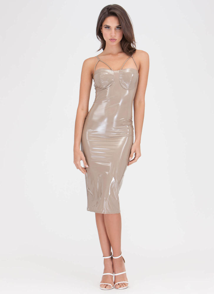 Painted On Strappy Faux Patent Dress NUDE