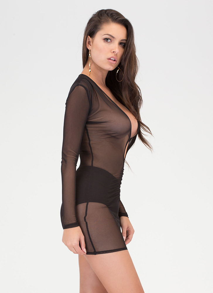Ruche Hour Plunging Sheer Mesh Dress BLACK