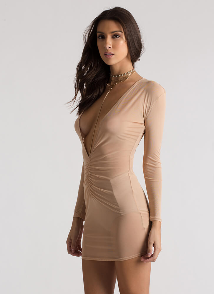 Ruche Hour Plunging Sheer Mesh Dress MOCHA