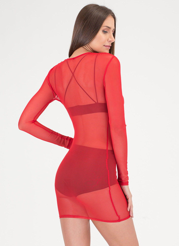 Ruche Hour Plunging Sheer Mesh Dress RED