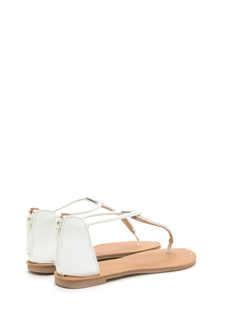 Gleam Come True Studded T-Strap Sandals WHITE (You Saved $10)