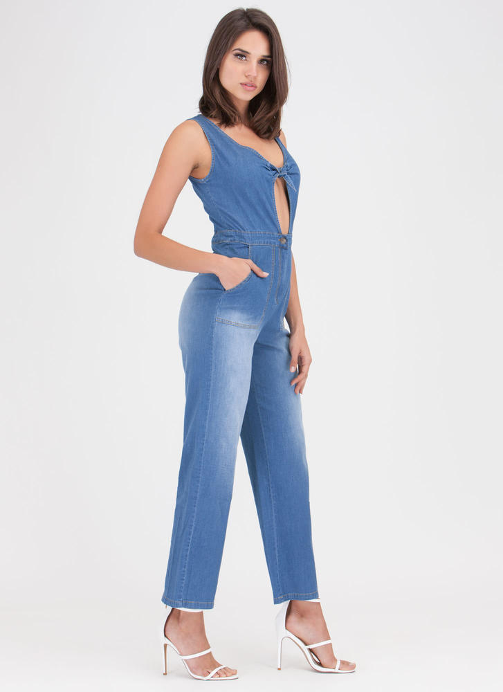 Knot A Chance Chambray Jumpsuit BLUE