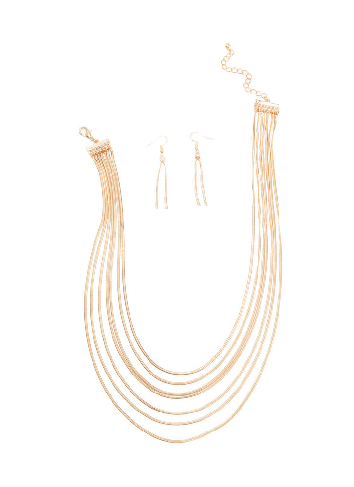 Here's A Glint Layered Necklace Set GOLD