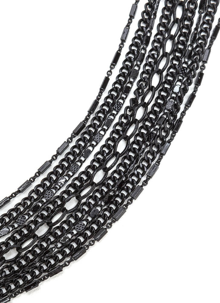 Nine Lives Draped Multi-Chain Necklace BLACK (You Saved $10)