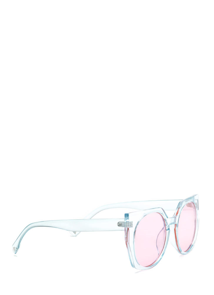 Miami Beach Clear Rounded Sunglasses BLUEPINK