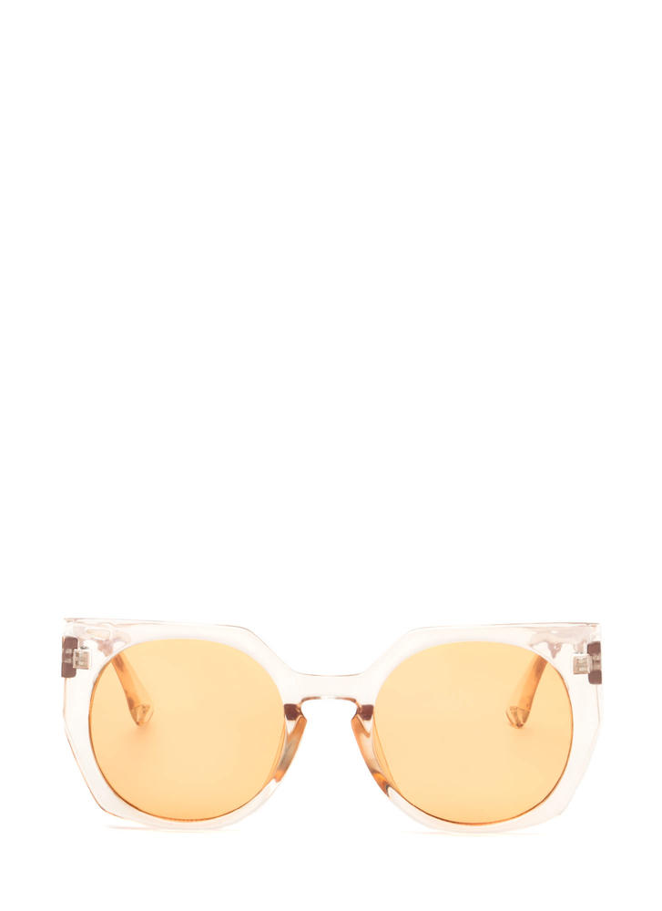 Miami Beach Clear Rounded Sunglasses ORANGE
