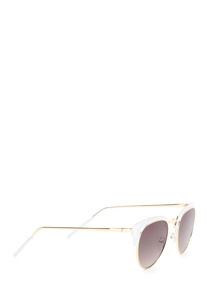 Vintage Queen Brow Bar Sunglasses WHITEGOLD