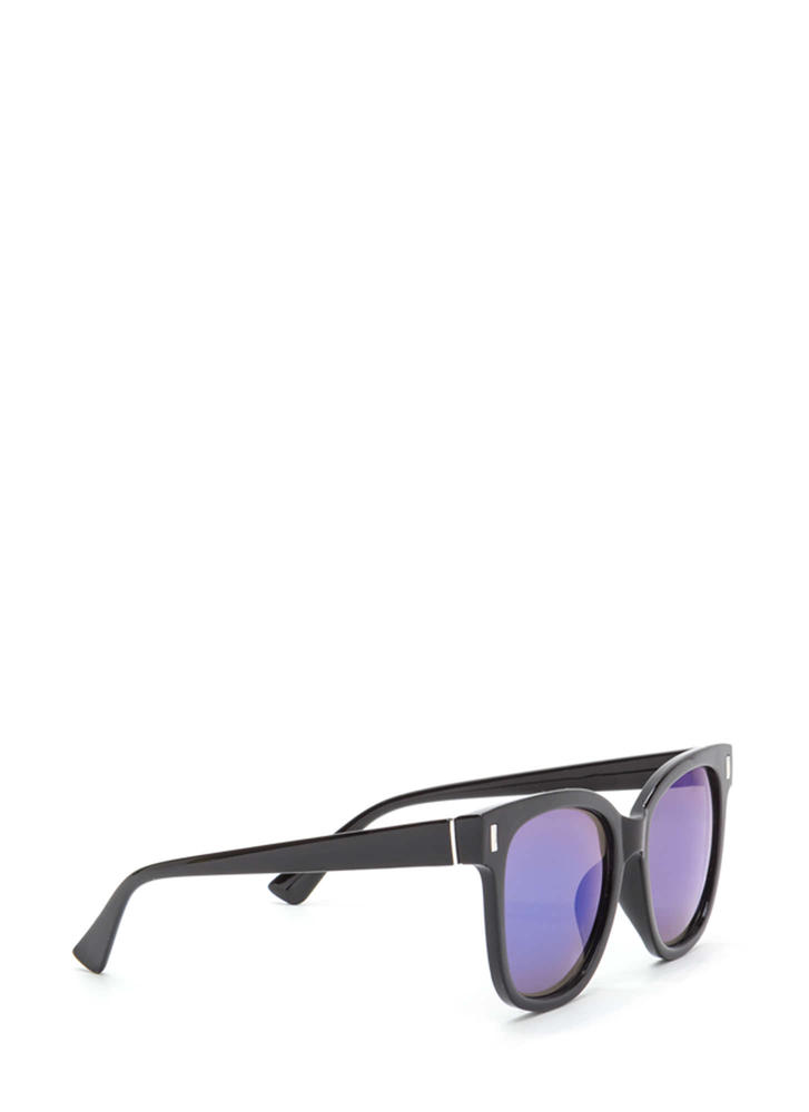 One More Glance Mirrored Sunglasses BLUEBLACK